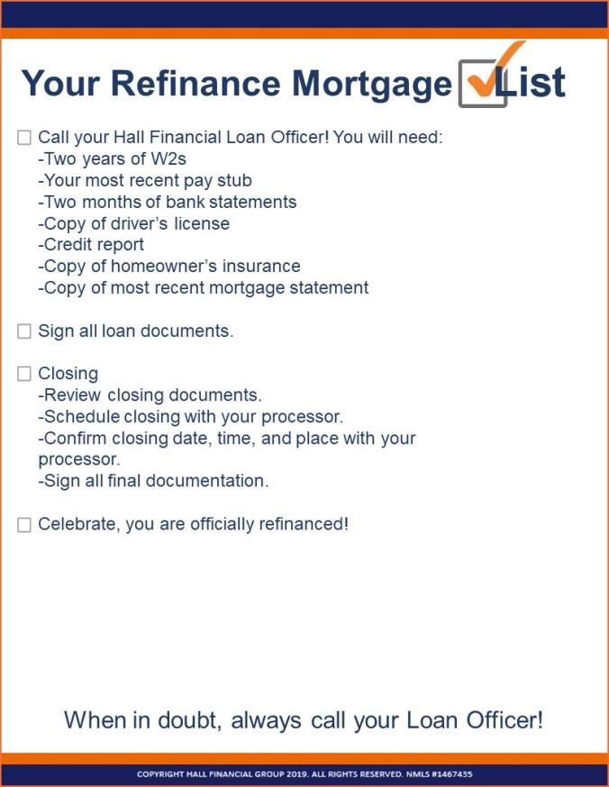 checklist refinance